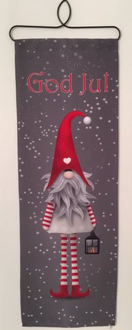 Christmas God Jul Long Legged Tomte Fabric wall hanging