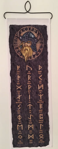 Viking with Runes fabric wall hanging
