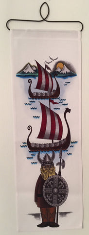 Viking & Ships fabric wall hanging