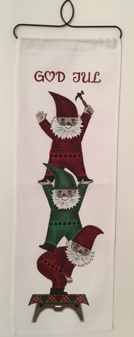 Christmas God Jul Tomte Trio Fabric wall hanging