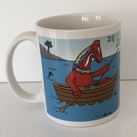 Karin Didring Dala Horse fishing coffee mug