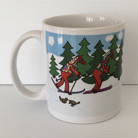 Karin Didring Dala Horses crossing country skiing coffee mug