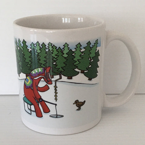 Karin Didring Dala Horse ice fishing coffee mug