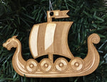 Baltic birch ornament - Viking ship