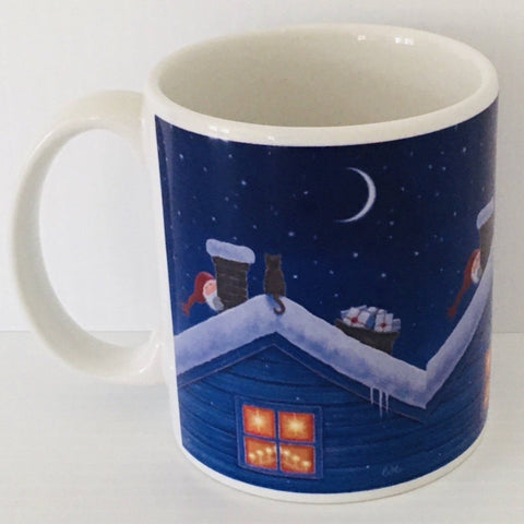 Eva Melhuish Tomte & cat on roof top coffee mug