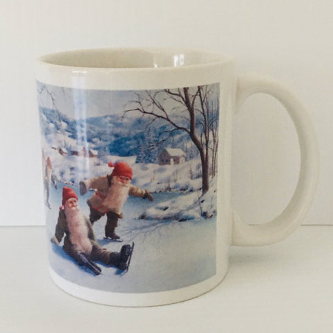 Jan Bergerlind Skating Tomtar coffee mug