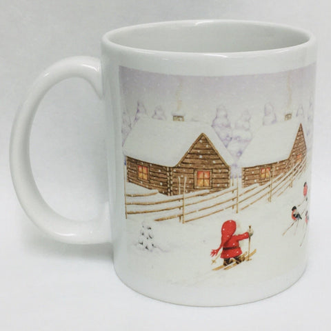 Eva Melhuish Tomte on skiis at fence coffee mug