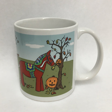 Karin Didring Dala Horse with pumpkins coffee mug