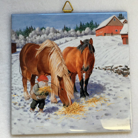 "6"" Ceramic Tile, J Bergerlind Tomte feeding horses"