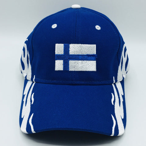 Finland flag on royal blue baseball cap with flames