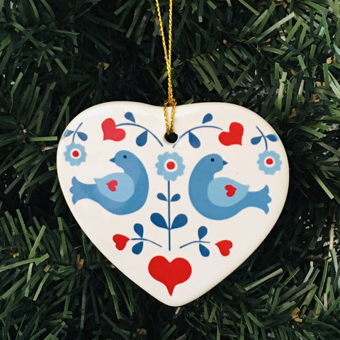 Ceramic heart ornament, Blue birds