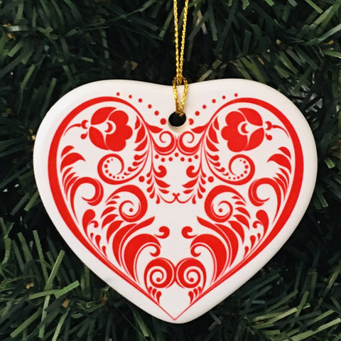 Ceramic heart ornament, Scroll Heart