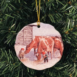 Ceramic Ornament, Jan Bergerlind Tomtar feeding cows