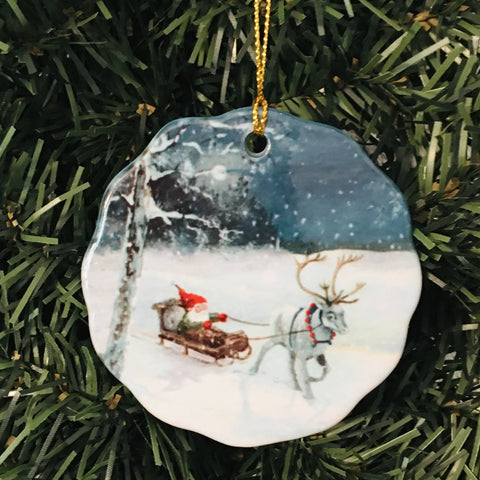 Ceramic Ornament, Tomte in sleigh