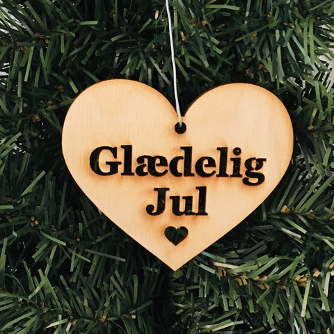 Baltic birch ornament - Glædelig Jul Heart