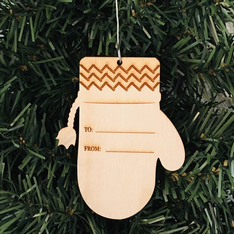 Baltic birch ornament - Mitten Gift Tag