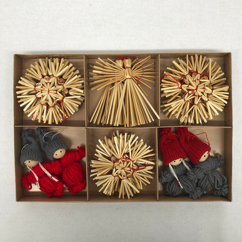 Straw ornament set - 22 pc set.