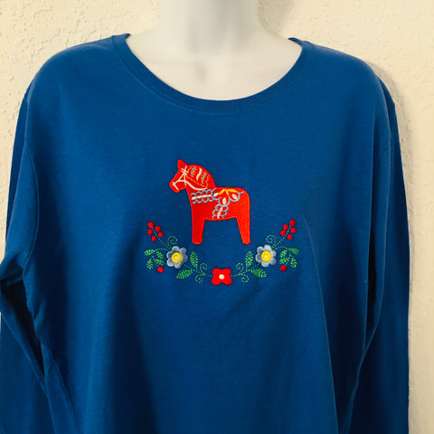 Sweatshirt - Dala horse & flowers on Royal blue