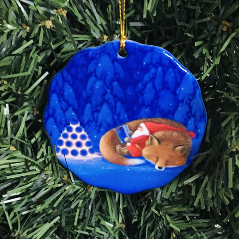 Ceramic Ornament, Eva Melhuish, Sleeping tomte & fox