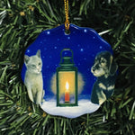 Ceramic Ornament, Eva Melhuish, Cat & dog with lantern