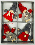 Gnome ornament with wooden stars set of 4