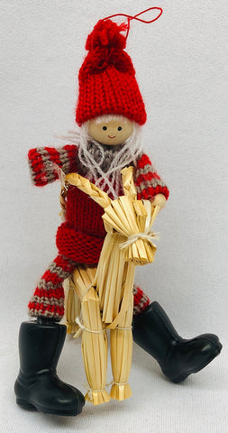 Gnome riding straw goat ornament
