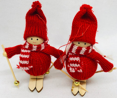 Skiing gnome ornament pair
