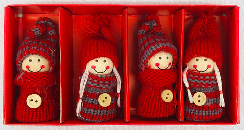 Gnomes with buttons ornaments - set of 4