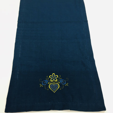 "Folk Art Heart Embroidered on Blue 52"" Runner"
