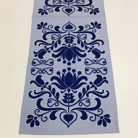 Blue Folk Art Flowers Table Runner