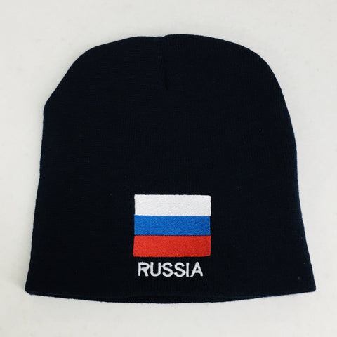 Knit  beanie hat - Russia flag