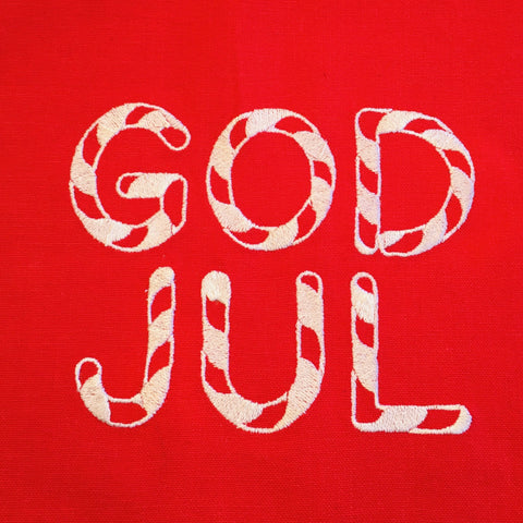 "God Jul Candy Cane Embroidered on Red 52"" Runner"