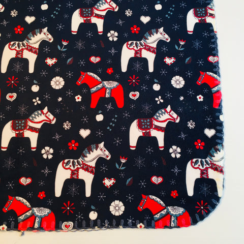 Fleece Baby Blanket - Dala horses