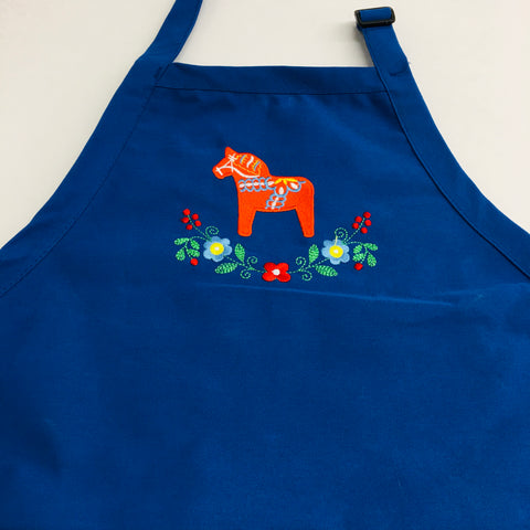 Apron - Embroidered Dala Horse & Flowers
