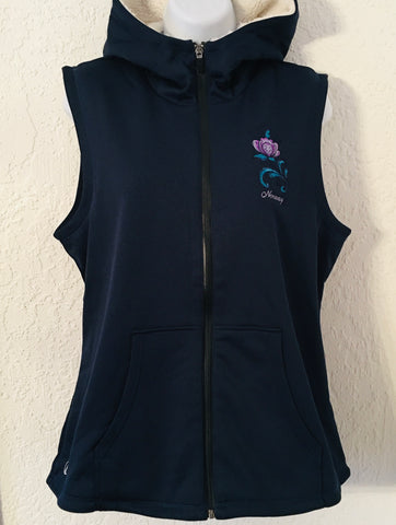 Ladies Sherpa Lined Hoodie Vest - Norway rosemaling