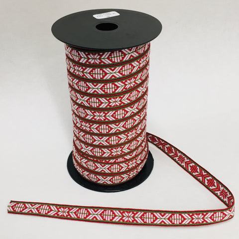Fabric Ribbon Trim by the yard - Red & white