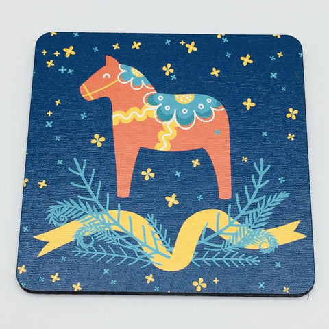 Dala Horse on Blue Coaster