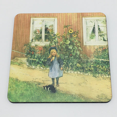 Carl Larsson Brita with Sandwich and Cat Coaster