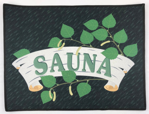 "Sauna & birch leaves rug 24"" x 18"""