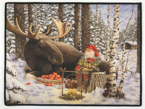 "Jan Bergerlind moose & tomte rug 24"" x 18"""