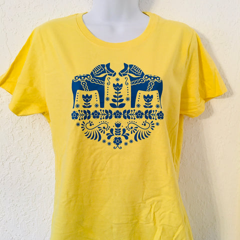Dala Horses on Yellow Ladies T-shirt
