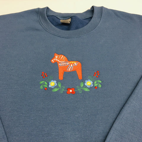 Sweatshirt - Dala horse & flowers on Indigo blue