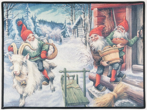 "Tomte riding Julbock rug 24"" x 18"""