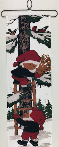 Christmas Tomte climbing tree Fabric wall hanging