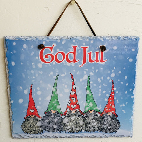 Slate Wall Hanging - God Jul Gnomes