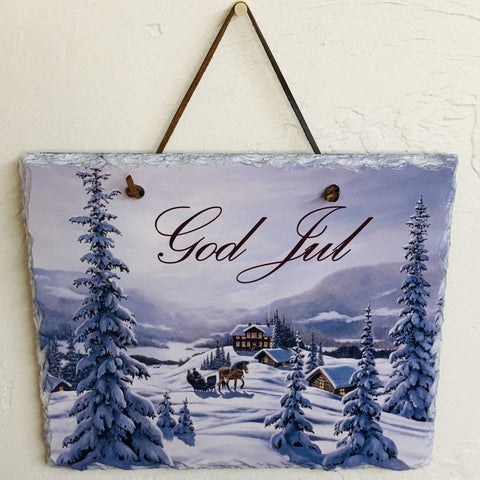 Slate Wall Hanging - God Jul Sleigh