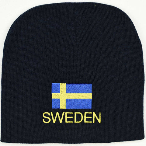 Knit  beanie hat - Sweden flag