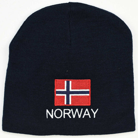 Knit  beanie hat - Norway flag