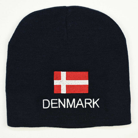 Knit  beanie hat - Denmark flag