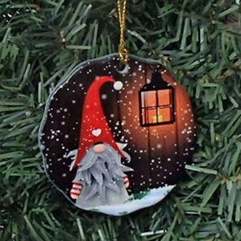 Ceramic Ornament, Gnome with lantern